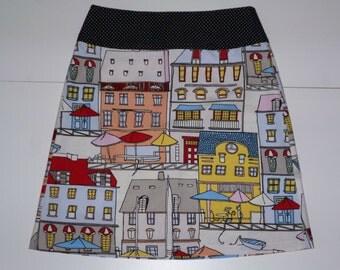 Colorful cottages skirt, A-line skirt, print, dots, drawing, size EU 38/40 (USA 8/10 - UK 10/12), cotton, zipper