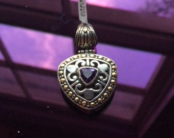 Trillion Shaped Amethyst Pendant with Antiqued Finish and 14k Gold Accents
