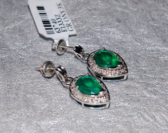 Pear Shaped Green Onyx Earrings with Diamond Accents Set in Sterling Silver