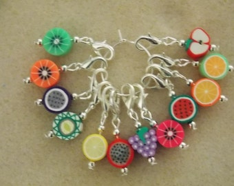 Crochet Stitch Markers Set of 6 Mixed Fruits