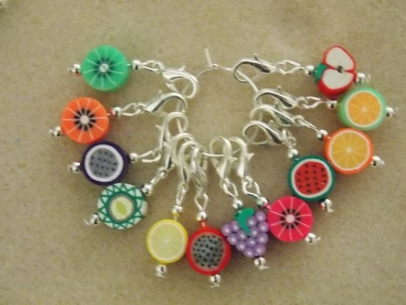 Crochet Stitch Markers Set of 6 Mixed Fruits by 3wildoranges