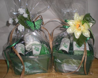 Goat milk soap, hand cream and perfume gift baskets.