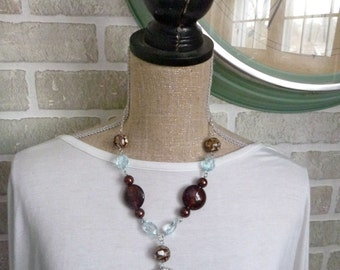 Aqua terra jasper with brown amber glass beads necklace