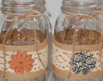 Rustic Wedding Decor - Rustic Wedding Centerpiece - Burlap Wedding Decor - Mason Jar Centerpiece - Country Wedding