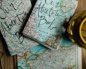Our Adventure Book - Handmade Journal - Coptic Stitch- Map Journal- National Geographic Map