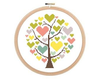 Tree With Hearts - Cross stitch pattern PDF, Wedding Cross Stitch, Romantic Pattern, Love Cross Stitch, Engagement Pattern