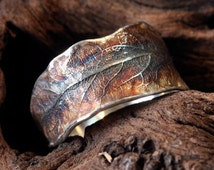beautiful worked ring in form of a leaf of the lime tree  - 10mm open -  autmn coloured - handcrafted single work with love in silver