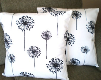 Black White Throw Pillows, Cushion Covers, Couch Pillows, Decorative Pillow, Dandelion, Bed Euro Sham, Throw Pillow, One or More All Sizes