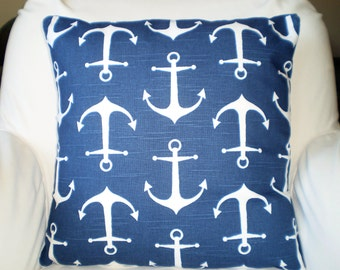 Navy Blue Nautical Pillows, Decorative Throw Pillows, Cushion Covers, Anchors Sailor Throw Pillow, Decorative Pillow, One or More All Sizes