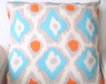 Orange Aqua Gray Pillows, Decorative Throw Pillows, Throw Pillows, Cushion Covers, Couch Pillows, Ikat Adrian, One or More All Sizes