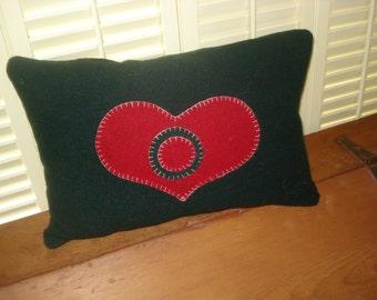 "Folk Art ""Bull's Eye"" Heart Felted Wool Appliqued Pillow"