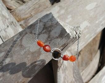 Carnelian & Tiger Eye Silver Bracelet
