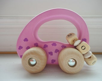 Classic Wood Toys - Wood Car - Personalized Wooden Toy Car - Girls - Pink Name Toy Car - Toys For Kids - Baby Gift - Classic Toy