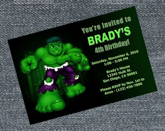 Hulk Invitations - personalized for your birthday party