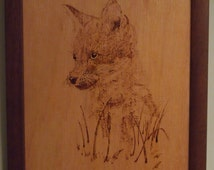 Pyrography wall art of a foxcub, home decoration, animal art, gift for men, gift for women, birthday gift, wedding gift, fathers day gift