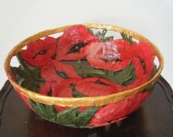 Vintage Handmade Papier Mache Poppy Bowl