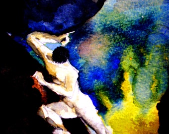 Mythology Sisyphus Greek Underworld Fine Art Painting Print 5x7