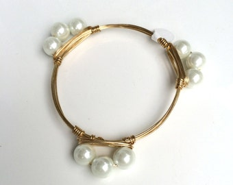 Small White Pearl Wrapped Bangle