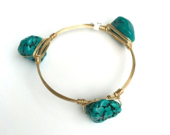 Green Turquoise Nugget Wire Wrapped Bangle