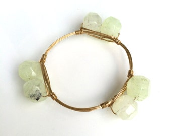 Light Green Wire Wrapped Bangle