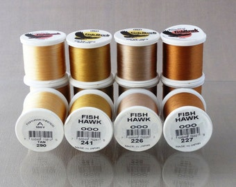 YLI 100 Silk and Fishhawk A nylon fly rod guide wrapping threads -  black, white, neutrals