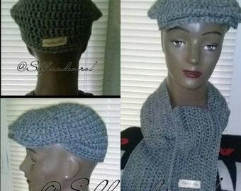 Crochet kangol hat, newboys hat, golf hat
