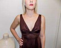 Vintage 1970s Nightgown, Vintage Lingerie, Silk Nightgown, Vneck, Brown Nightgown, Wedding Nightgown, Vintage Brown Nightgown, Sleepwear