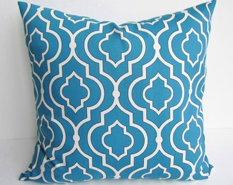 MAROCCAN TILE PILLOW 18x18 Inch Bright Blue Decorative Pillow Cover, Sham, Home Decor, Throw Accent Sofa Pillow (45 cm)