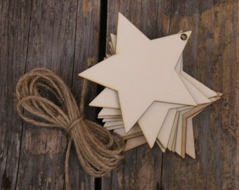 10 x Wooden Sharp 5 Pointed Star Craft Shape in 3mm Ply
