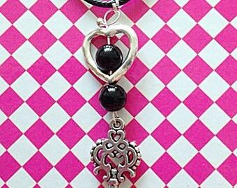 Silver heart necklace / Key heart Necklace / 'Key to my heart' silver key / silver heart and black agate necklace.