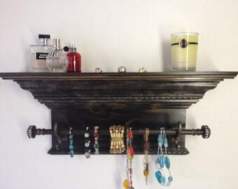 """24"""" Crown Molding Shelf with Jewelry Bar, Necklace Holder, Jewelry Organizer"""