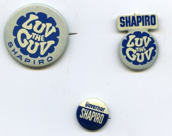Set of 3 Illinois governor Shapiro campaign buttons 1968.