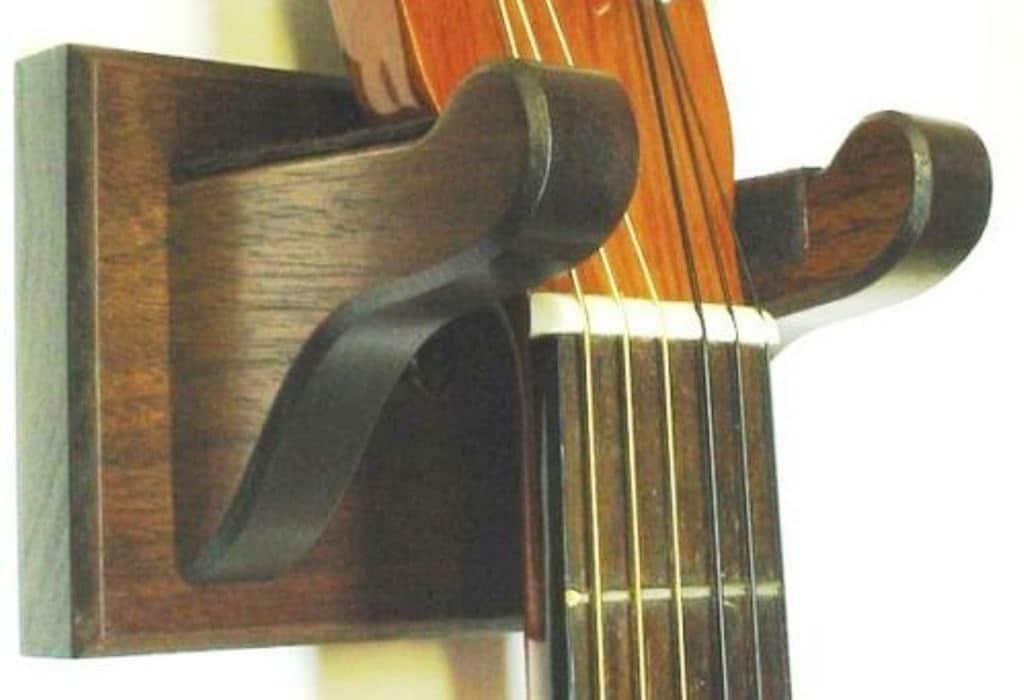 walnut wood wooden wall mount guitar hanger display. Black Bedroom Furniture Sets. Home Design Ideas