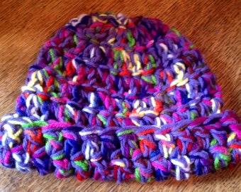 Crocheted Hat, Baby, Toddler, Multi-Colored, Purples infused with yellows, greens, oranges, whites & reds, Whimsical, Funky, Fun