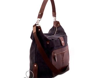 Leather canvas bag, womens canvas bag, crossbody bag, convertible messenger, womens backpack, canvas handbag, womens canvas leather backpack