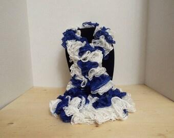 Team Spirit Crochet Ruffled Scarf, Handmade Ruffle Team Spirit Blue and White Lacy College Football