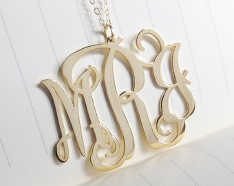 "3 Initial Monogram Necklace,Gold Monogram Necklace,1"" inch Personalized Monogram Necklace,Monogrammed Gifts"