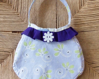Colorful handcrafted girls toddler purse handbag, fully lined, premium cotton fabric, purple with green flowers on body, top ruffle,  handle