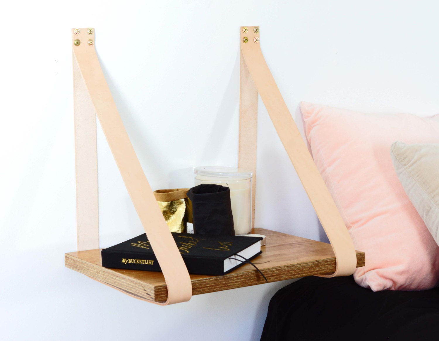 Leather Strap Hanging Bedside Table Shelf Veneer by HandGDesign