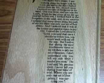 Footprint Prayer Laser Engraved 5x7 Oak Plaque