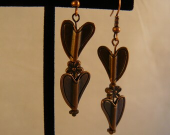 Freeform Copper Heart Earrings