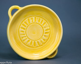 Tapas Dish with handle- in Lemon Yellow