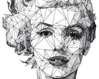 Temporary Tattoo - Geometric Drawing / Monroe / Einstein