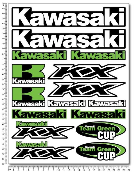 Kawasaki KX Motorcycle Decal Sheet Motorbike Stickers Set - Stickers for motorcycles kawasaki