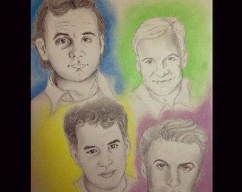 "Wild and Crazy Guys 14""x17"" Bill Murray, Steve Martin, Alec Baldwin, and Tom Hanks drawing"