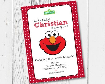 Printable Elmo Birthday Party Invitation. Digital Invitation