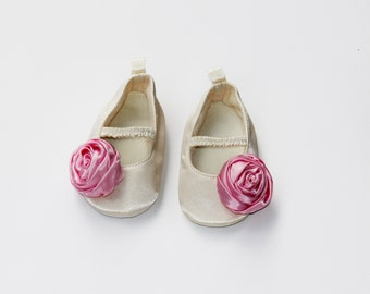Flat Crib Shoes Baby Shoes Satin Shoes Christening Shoes Ivory Shoes Ballet Shoes Flower Girl Shoes