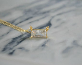 Dainty Baguette Necklace | Small Rectangle Pendant | Delicate Layering Necklace