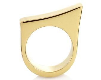 Minimalist gold ring - Statement ring - Sleek and modern gold ring - Chunky gold ring - Geometric gold ring