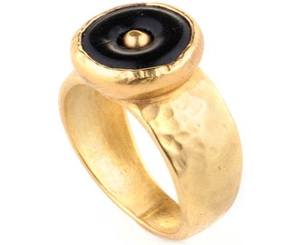 Black Onyx Ring, Gold Plated Ring, Solitaire Ring, Black Onyx Gold Ring, Statement Ring, Gold Rings for Women, Onyx Stone